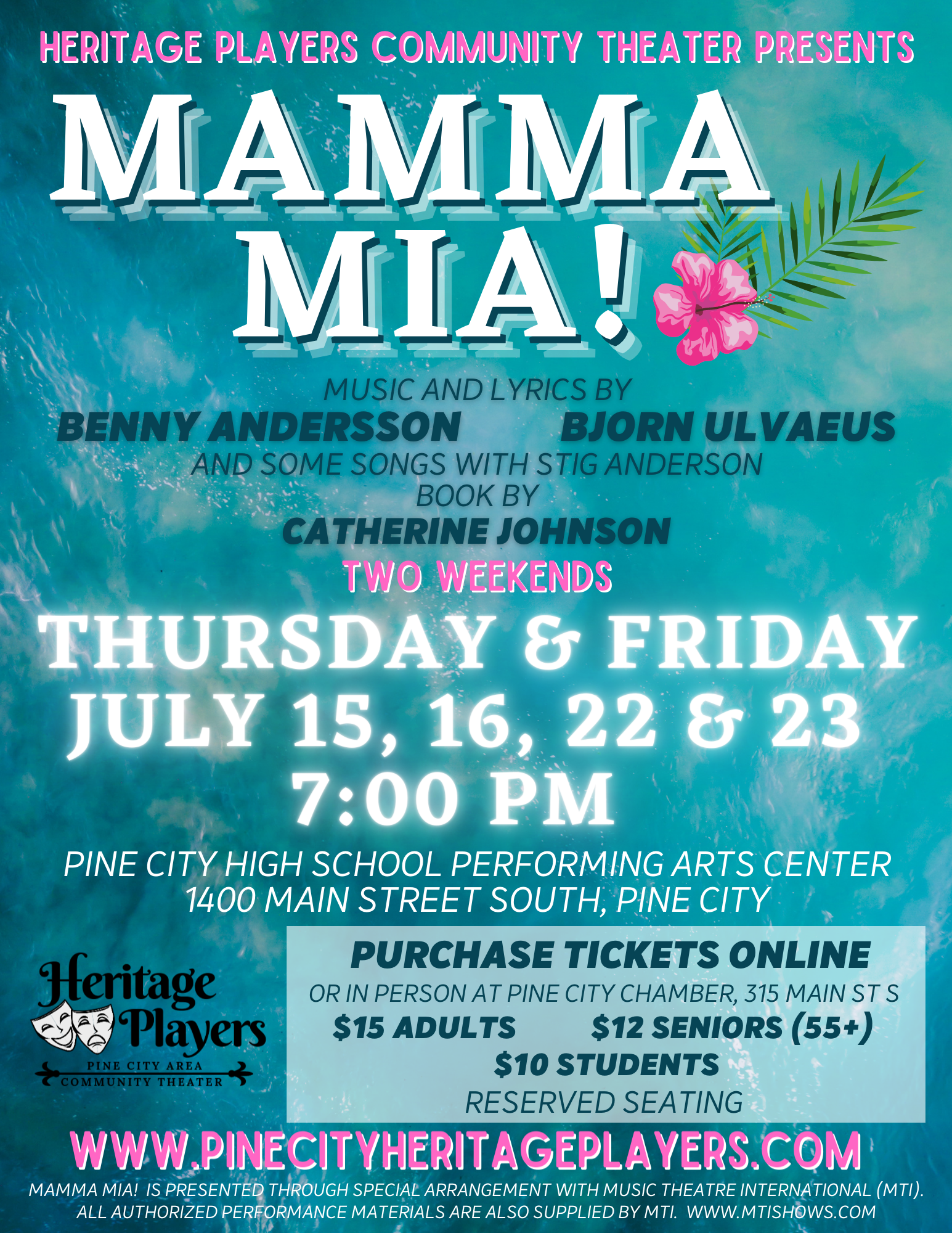 Mamma Mia Tickets on sale July 1st